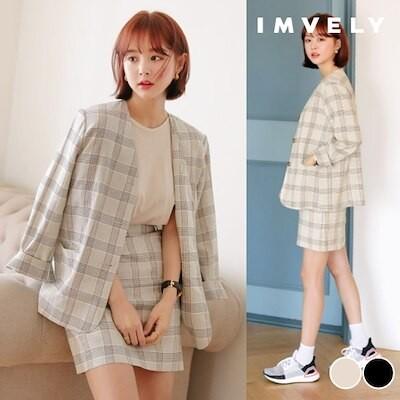 [IMVELY イムブリー公式] リネンノーカラーチェックジャケット 韓国ファッション