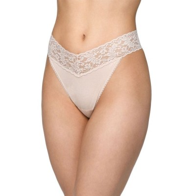 ハンキーパンキー レディース パンツ アンダーウェア Original-Rise Organic Cotton Lace-Trim Thong