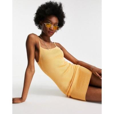 ピンキー Pimkie レディース ワンピース ミニ丈 ワンピース・ドレス Ribbed Mini Dress In Orange オレンジ