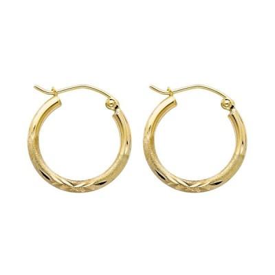 Ioka - 14K Yellow Gold 2mm Thickness Diamond Cut Hoop Hinged Earrings