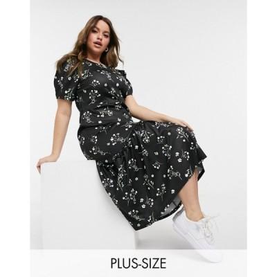 リバーアイランド レディース ワンピース トップス River Island Plus floral print midi dress in black