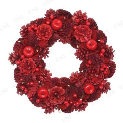 取寄品  クリスマスパーティー パーティーグッズ 雑貨 装飾 リース レッドコーン 34cm