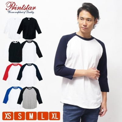 Tシャツ 7分袖 Tシャツ メンズ ロンt 無地 レディース プリントスター(Printstar) ベースボールTシャツ 5.6オンス 00107