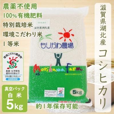 無農薬 コシヒカリ 5kg 令和2年産 真空パック 白米 農薬不使用 100%有機肥料 長期保存 特別栽培米 1等米 環境こだわり米