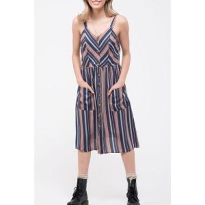 ブルーペッペーブルーペッパー レディース ワンピース トップス Stripe Sleeveless Midi Dress NAVY MULTI