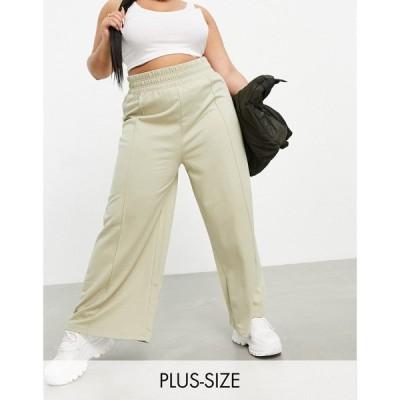 パブリックディザイア Public Desire Curve レディース ジョガーパンツ ボトムス・パンツ seam front wide leg jogger in sage セージ