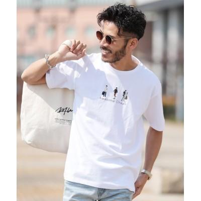 【ジギーズショップ】 USAコットンパターン刺繍Tシャツ / Tシャツ メンズ ティーシャツ 半袖 クルーネック メンズ ホワイト M JIGGYS SHOP