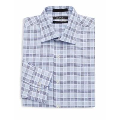 サックスフィフスアベニュー メンズ ドレスシャツ ワイシャツ Herringbone Plaid Cotton Dress Shirt