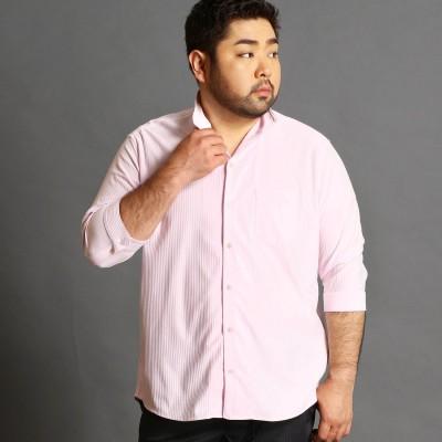 ハイダウェイ HIDEAWAYS <大きいサイズ>イタリアンカラー7分袖シャツ (08ピンク)
