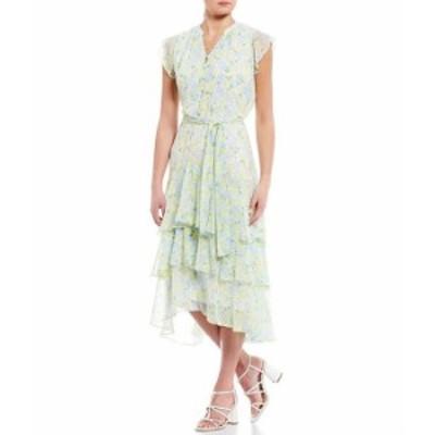 カルバンクライン レディース ワンピース トップス Ditsy Floral Print Chiffon Flutter Cap Sleeve Tiered Ruffle Midi Dress Cashmere