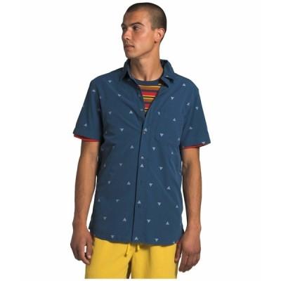 ノースフェイス シャツ トップス メンズ Short Sleeve Baytrail Jacquard Shirt Shady Blue Arrowhead Jacquard