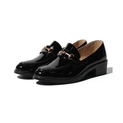 【シュークロ】 ビット付オックスフォードローファー レディース ブラック/エナメル LL Shoes in Closet