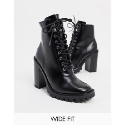 エイソス レディース ブーツ・レインブーツ シューズ ASOS DESIGN Wide Fit Bobbie lace up heeled boots in black BLACK