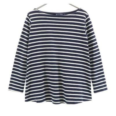 プチバトー ボーダー柄 長袖 Tシャツ S 紺×白 PETIT BATEAU Aライン フレア レディース 古着 201022