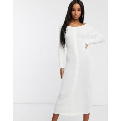 ファッションキラ レディース ワンピース トップス Fashionkilla knitted off shoulder midi dress in ivory Ivory