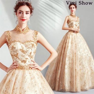 ウェディングドレス ドレス 花嫁 結婚式 披露宴 大きいサイズ Aラインドレス ブライダルドレス ロングドレス 刺繍入り お姫様 新作 vivishow