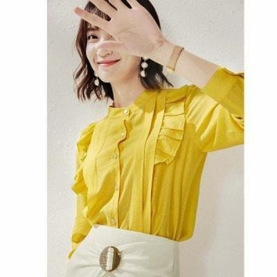 ブラウス レディース 長袖 無地 前開き ボタン トップス フリル 長袖シャツ カジュアル ワイシャツ ラウンドネック 薄手 ファッション