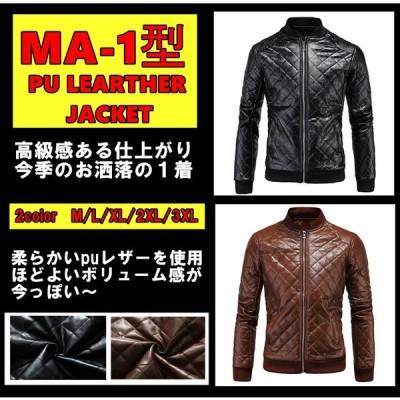 在庫一掃 ライダースジャケット PU−レザーJKTキルティングアウター バイクウェア アウターウェア メンズ アウター PUレザー