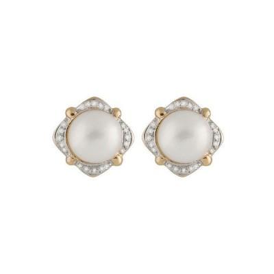 スプレンディット Pearls イヤリング アクセサリー 14K ゴールド イヤリング ウイズ 12-13ミリ Mabe パール ウイズ 0.40CT ダイヤモンド.