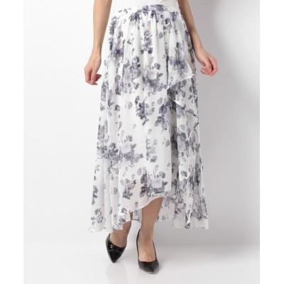 (GeeRA/ジーラ)イレギュラーヘムロングスカート     /レディース オフシロ系花柄