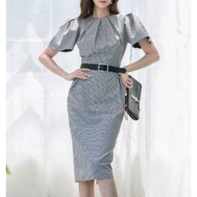韓国 ファッション レディース ワンピースドレス チェック 膝丈 タイト ハイウエスト スリット 半袖 お呼ばれ 結婚式 二次会 フォーマル