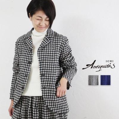 ICHI Antiquite's イチアンティークス600633 JKT コットンウールギンガムジャケット アウター セットアップ 秋冬 ゆったり 日本製 pumila プミラ