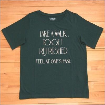メール便可 Pullffy プリントTシャツ グリーンTAKE A WALK オーガニックコットン Tシャツ フロッキー プルオーバー 半袖 カットソー クルーネック ロゴ