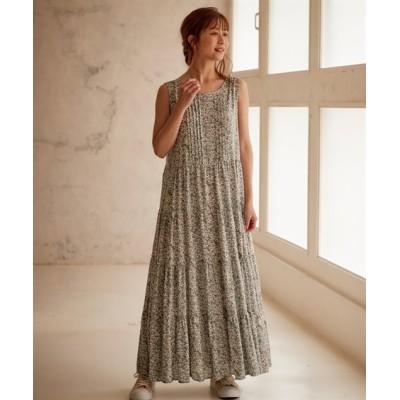 【大きいサイズ】 フラワープリントノースリーブロングティアードワンピース ワンピース, plus size dress