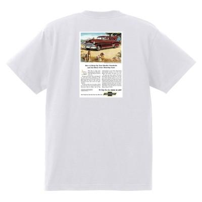 アドバタイジング シボレー ベルエア 1953 Tシャツ 082 白 アメ車 ホットロッド ローライダー広告 アドバタイズメント