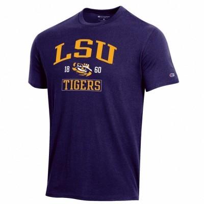チャンピオン Tシャツ トップス メンズ Champion Men's Louisiana State University Team Over Mascot Short Sleeve T-shirt Purple