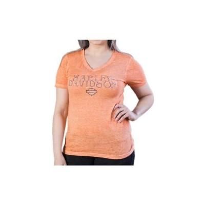 トップス ハーレーダビッドソン Harley-Davidson Women's Sweet Sugar V-Neck Burnout Short Sleeve Shirt Coral Reef