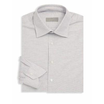 カナリ メンズ ドレスシャツ ワイシャツ Graphic Cotton Dress Shirt