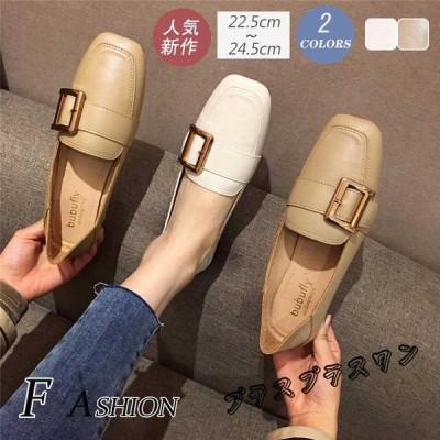 レディース シューズ フラットシューズ スクエアヘッド ローヒール ラフヒール ふとヒール レトロ コンフォート 女性靴 2020新作