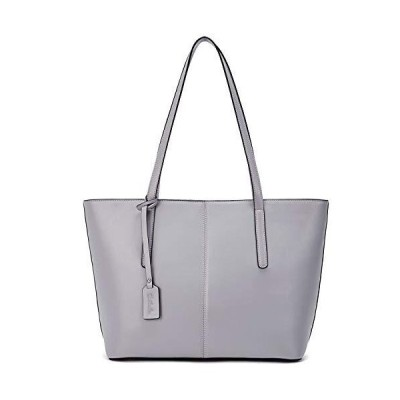 BOSTANTEN Women Genuine Leather Handbag Designer Fashion Shoulder Bag Vintage Tote Bag Grey 並行輸入品