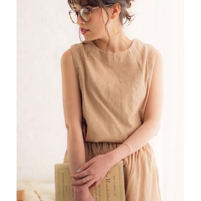 【シルバーバレット】 Dita(ディータ)選べるワイドパンツ綿麻セットアップ レディース ベージュ L SILVER BULLET