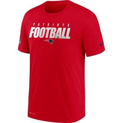 ナイキ メンズ Tシャツ トップス Nike Men's New England Patriots Sideline Dri-FIT Cotton Football All Red T-Shirt
