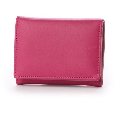 ナナノエル Nananoel sauvage スムースレザー配色三つ折りミニ財布 (ピンク)
