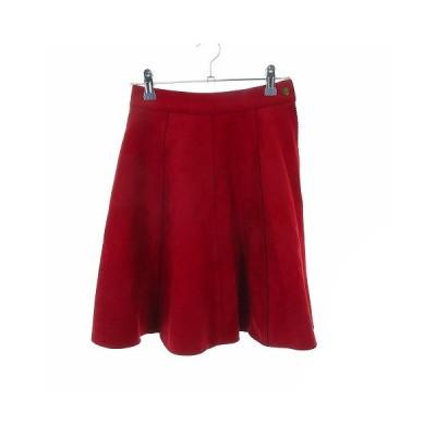 【中古】リリーブラウン Lily Brown スカート フレア ミニ ベロア 無地 0 赤 レッド /MO レディース 【ベクトル 古着】