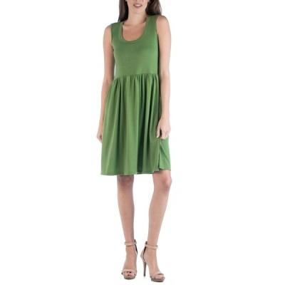 24セブンコンフォート ワンピース トップス レディース Slim Fit Sleeveless A-Line Flare Dress Green