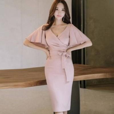 韓国 パーティードレス オルチャン ドレス 結婚式 お呼ばれ ドレス フォーマル ドレス パーティー ドレス 20代 30代 40代 フリルスリーブ