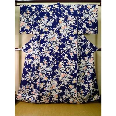 着物 小紋 女性用 和服  シルク(正絹)   青, 花 【中古】 【USED】 【リサイクル】 ★★★★☆ J1014K
