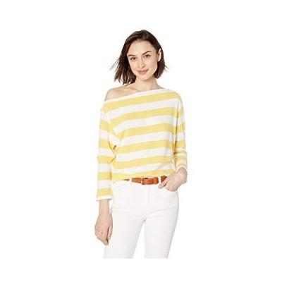 Enza Costa Women's Sweater Jersey Exposed Shoulder Long Sleeve Top, Yellow/