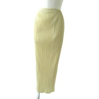 良品◎正規品 日本製 PLEATS PLEASE プリーツプリーズ レディース プリーツロングスカート ライトベージュ サイズ2 シンプル◎