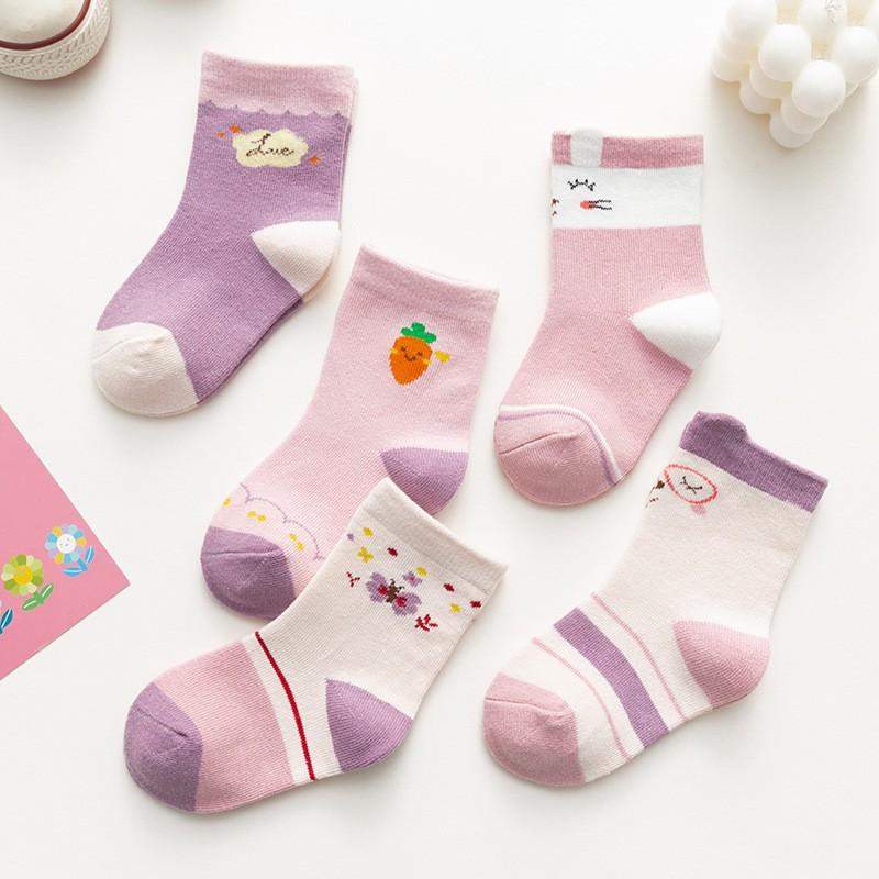 大唐襪業 D540兒童襪子粉色女寶寶襪中筒襪卡通棉質兒童襪
