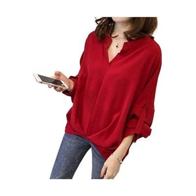 APKR シャツ ブラウス ドルマンスリーブ 袖 ボタン付 Vネック とろみ 素材 (赤 レッド, XL)