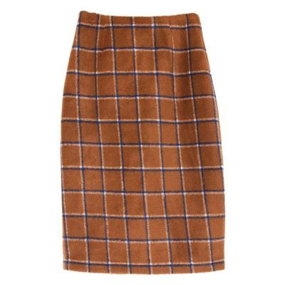 ユアーズ ur's ウール混チェックタイトスカート (キャメル)