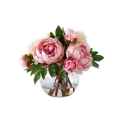 ミニ人工花と花瓶シルク牡丹人工花のフェイク花鉢植えのためにリビングルーム、結婚式、ロビー(ピンク) (C