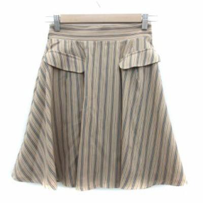 【中古】オリーブデオリーブ OLIVE des OLIVE スカート フレア ひざ丈 ストライプ柄 ベージュ ブルー 青 レディース