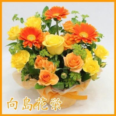 ガーベラ(オレンジ)とスプレーバラの明るいアレンジメント