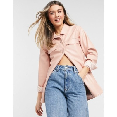 スレッドベア レディース シャツ トップス Threadbare cola faux leather shirt jacket Pink
